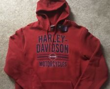 Harley Davidson Red Pullover Hoodie Sweatshirt Nwt Men's medium