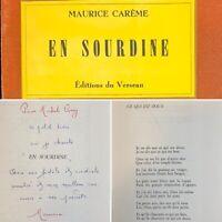 🌓 EO MAURICE CARÊME En Sourdine poésie 1964 envoi autographe signé MICHEL CIRY