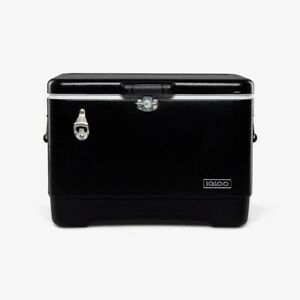 Igloo Ultratherm 54 Quart Modern Steel Legacy Cooler Chest with Handles, Black