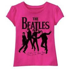 THE BEATLES Toddler Girls Pink PS I LOVE YOU Rock Concert Cotton T-Shirt 3T NWT