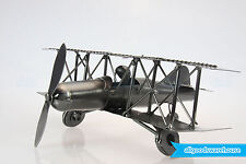 NEW Scrap Metal Handmade Nuts & Bolts Vintage Bi-Plane with Pilot Aircraft Model