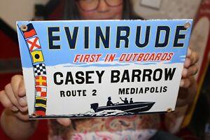 Evinrude Outboard Boat Motors Fishing Gas Oil Porcelain Metal Sign