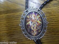 handcrafted Bolo tie leather braided cord large Si Fi Woman mounted cab <><
