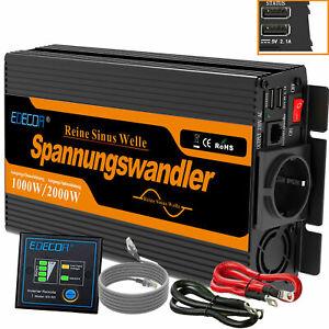 Convertisseur 12V 220V Onde sinusoïdale pure 1000W 2000W onduleur EDECOA
