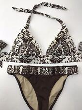 Victorias Secret Bikini Swimsuit 2 Piece Brown White Floral Size M Top S Bottom