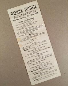 Warwick NY: 1863 Broadside Program WARWICK INSTITUTE EXHIBITION Musical Show