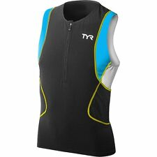 Tyr Sport Men Size Small Competitor Singlet with Front Zipper Scmxp6A Black Blue