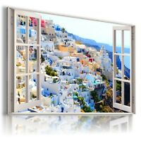 "3D GREECE Window View Canvas Wall Art Picture Large SIZE 30X20"" W243"