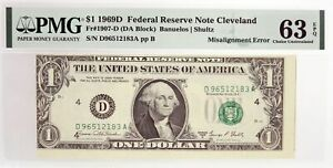1969 D $1 FRN Cleveland Fr#1907-D Misalignment Error Note PMG Ch UNC 63 EPQ