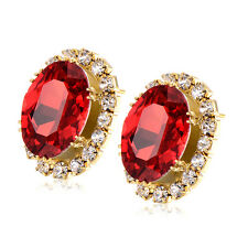Red ruby Oval Lucky Big Stud earrings Yellow gold filled Anniversary earings lot