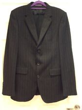 """Mens Two Piece 100% Wool Pin Striped Italian Suit From Next Jacket 40""""L W 34""""""""L."""