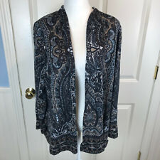 Susan Graver QVC Paisley Lightweight Open Front Cardigan Sweater Size Large