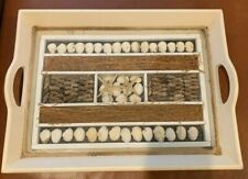 "Vintage Wooden Sea Shell Display Serving Tray 14"" x 10"""