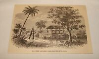 1885 magazine engraving ~ OLD-TIME ELEVATED TOMB, Hawaii