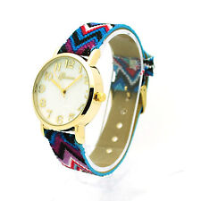 Geneva Womens Rainbow Fabric Weave Strap Quartz Analog Wrist Watch