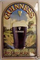 Guinness Bouton de Irlande Plaque Bouclier 3D en Relief Étain Signer 20 X 30 CM