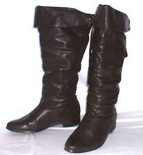 Echtleder Stiefel mit Überschlag ~ dunkelbraun Gr. 37 ~ Vintage Lederstiefel