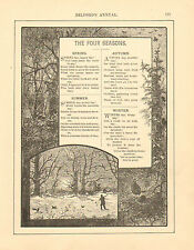Poetry, Verse, Seasons, Spring, - Winter, Vintage, 1889 Antique, Art, Print,