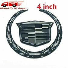 "Rear Grille 4"" Black Emblem Hood Badge Logo Chrome Fits For Cadillac CTS STS DTS"