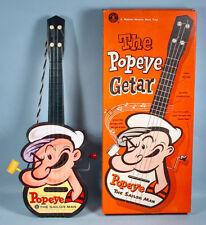 1950s Popeye the Sailor Getar Mattel Music Box Guitar Toy with Original Box