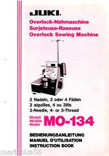 JUKI OVERLOCK MO-134 INSTRUCTION Book /OPERATING MANUAL, color PDF file on CD