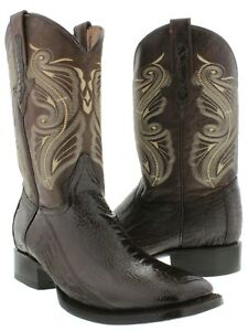 Mens Ostrich Leg Exotic Skin Leather Cowboy Boots Western Square Toe Brown