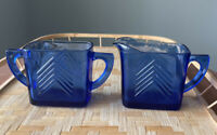 Vntg Hazel Atlas Cobalt Blue Depression Glass Sugar Creamer MCM Art Deco Lines