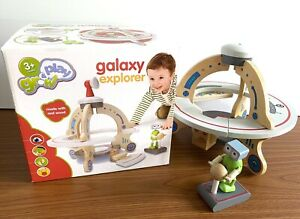 Grow And Play GALAXY EXPLORER Wooden Toy Spaceship & Alien. Boxed!