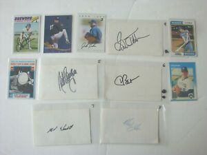 A You Pick 3 Signed Milwaukee Brewers Baseball & Index Cards Autograph