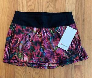 Lululemon Pace Rival Mid Rise Skirt  4,6 Hyper Flow Pink Multi/Black NWT HYFL