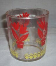 VINTAGE HAZEL ATLAS COTTAGE OR CREAM CHEESE JARS/GLASSES CLEAR, RED & YELLOW