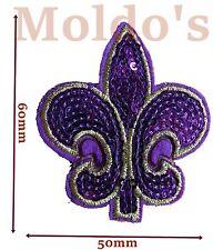 Fleur de lys iron Embroidered sequin Patches Patch Badge Badges Logo motif #245