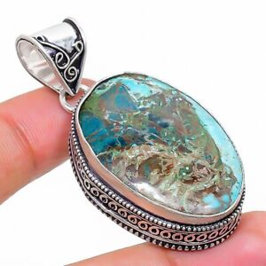"Tibetan Turquoise Gemstone Handmade Ethnic Gift Jewelry Pendant 1.97"" l485"