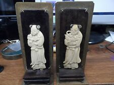 mid 19th century carved chinese bookends  figures mounted on rosewood & brass