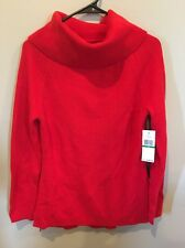 Tommy Hilfiger Red Ribbon It Long Sleeve Large Sweater Mock Neck High Low