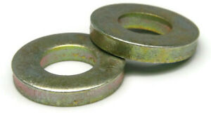 Extra Thick Flat Washers Grade 8 Yellow Zinc - USA Made, SAE Inch Sizes