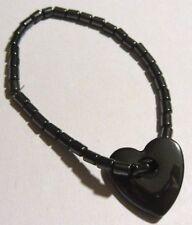 bracelet perles hématite extensible magnètisme déco coeur rétro * 4370