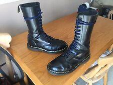 Vintage Dr Martens 1914 Negro Botas Quilon UK 7 EU 41 Piel Punk 1420 Inglaterra