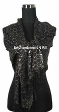 Exotic Handmade Stage Lace Scarf Wrap Costume w Dazzling Sequins & Fringe, Black