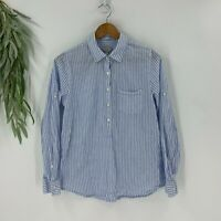 J.crew Womens Popover Shirt Size 8 M Blue Striped Woven Long Sleeve Top Cotton