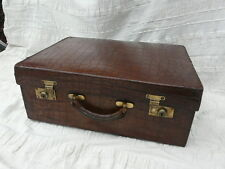 antique crocodile skin suitcase stunning art deco case brass trim 1930s vintage