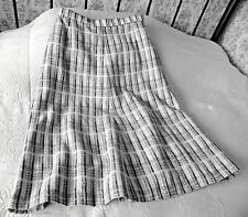 Vintage A line wool mix skirt by JAEGER Size 10 Checked beige mix