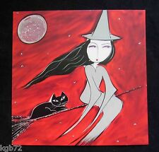 Leanin Tree Halloween Greeting Card Witch Broom Moon Multi Color HW25