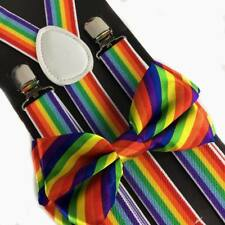 NEW THIN ELASTIC BRACES CLIP ON Y-SHAPE SUSPENDERS ~ MULTI COLORS RAINBOW #SP107