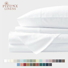 400 Tc Soft Cotton King White 6 Piece Bed Flat Deep Pocket Fitted Bedsheets Set