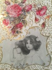 Antique Valentine Card Red Roses Victorian Girl Old Rare 1912