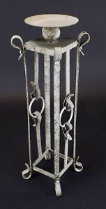 "Hand Forged Floor Free Standing Iron Pillar Candle Holder 23 3/4"" Pedestal"