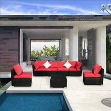 In/Outdoor Patio Furnture Wicker Rattan Sofa Set Sectional Couch Cushioned Red