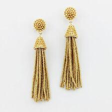 Gold Boho Jewelry Handmade Seedbeads Tassel Earrings Beaded Chandelier Long