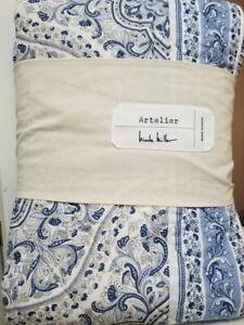 NEW Nicole Miller White Blue Paisley Full/Queen Cotton Quilt 3PC Set W/ Shams